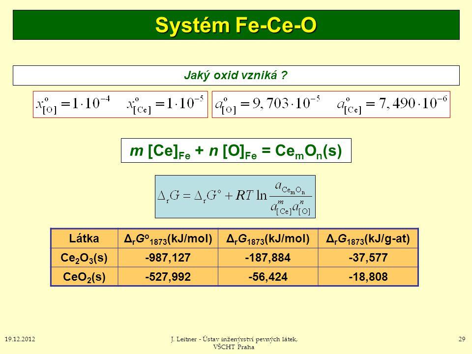 m [Ce]Fe + n [O]Fe = CemOn(s)